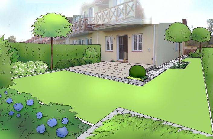 Realizacja ogrodu domu w Warszawie - Białołęka numer 1