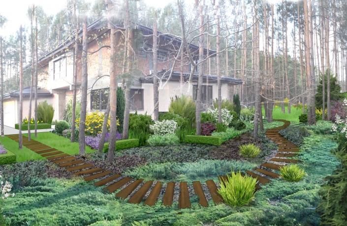 Projekt ogrodu Międzylesie numer 1