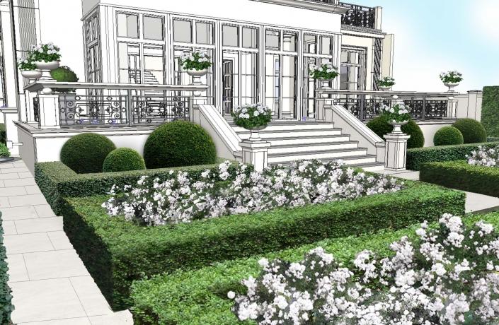 Zawrat wiosna widok na dom od strony ogrodu